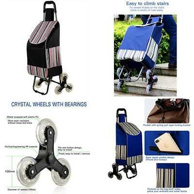 New (Black) Stair Climb Rolling Cart Collapsible Oxford Cloth Waterproof Holds U