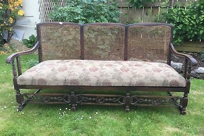 Antique Edwardian Bergere 3 seater sofa for renovation COLLECTION ONLY