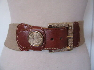 Vintage 1980's Country Casuals Tan Leather And Elastic Belt Sisal Rope Detail