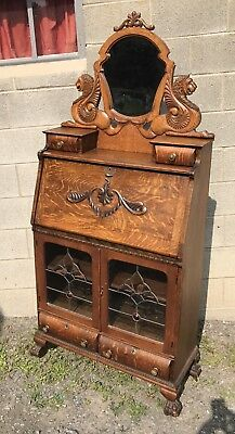 Victorian Oak Drop Front Desk, Lions And Leaded Glass Door