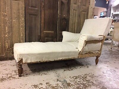 French Deconstructed Chaise Lounge, Antique, Sofa, Chair