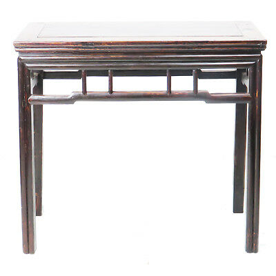 "Antique Chinese Hall Console Side Table 36"" long 18"" deep Brown lacquer"