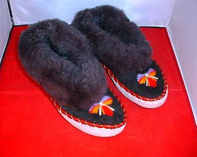 Vintage Alaskan Canadian Eskimo Style Slippers Fur Leather Embroidered