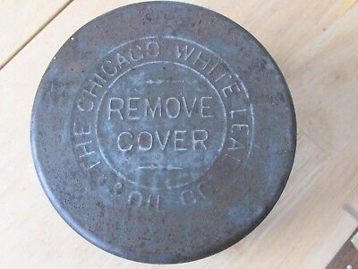 """Pat 1882 The Chicago White Lead & Oil Co , 3 1/4"""" Tin Can , Paint Linseed Oil"""