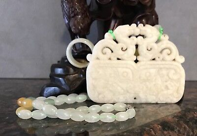 Carved White and Green Jade Jadeite Grade A Pendent Necklace With Ring Sz 7