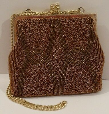 Gorgeous Vintage Copper Beaded Evening bag Purse Walberg Hand Made
