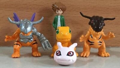 5Pcs Japan Bandai Vintage Taichi Agumon Digimon Adventure Mini Tiny Figure Toy
