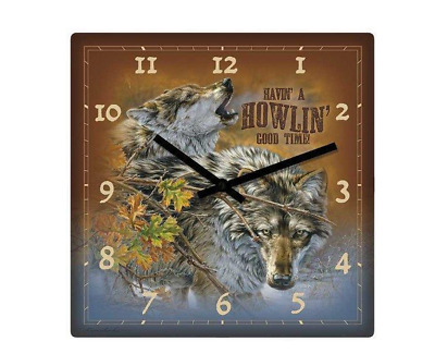 """Wolves Nature Clock Wild Wings 10"""" Sq #5842651071"""