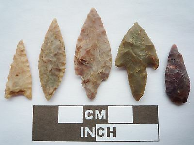 Neolithic Arrowheads x5, High Quality Selection of Styles - 4000BC - (Q075)