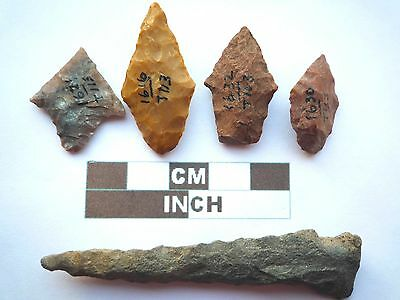Native American Arrowheads x 5, Genuine Archaic Artifacts, 1000BC-8000BC (Y007)