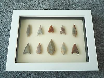 Neolithic Arrowheads in 3D Picture Frame, Authentic Artifacts 4000BC (0439)