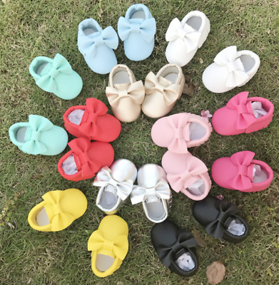 Newborn Baby Girls Infant Crib Moccasin Leather Bow Tassel Soft Sole Shoes 0-18M