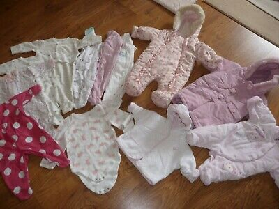 Baby Girls Pram suit baby-grow clothing bundle Age 0 to 3 months x 12 Items VGC!