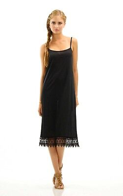 Women's Long Solid Knit Lace Full Slip Dress Extender with adjustable straps