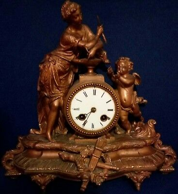 French Brass Mantelpiece Clock