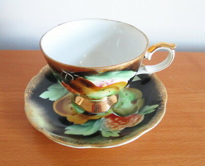 Shafford Tea Cup + Saucer Hand Painted Fruit Black Gold Green Vintage Japan
