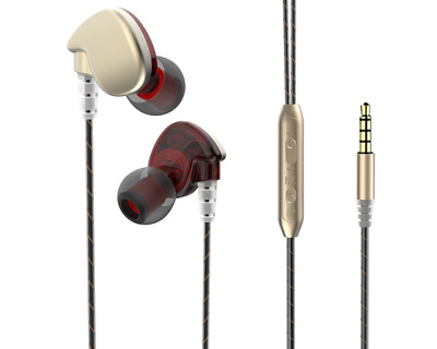 In-ear Sweat-proof Athletic Headphone, Bass Stereo Music Earbuds(Gold Red )