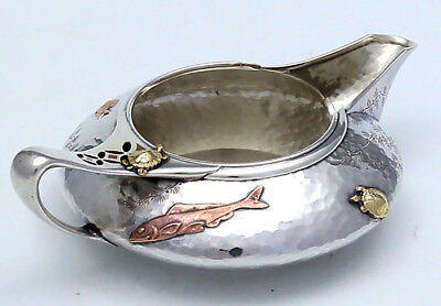 Rare TIFFANY FISH TURTLES Sterling MIXED METALS Cream Pitcher