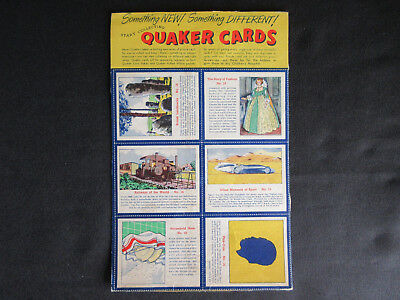 1950's QUAKER CARDS Cereal Box Panel of (6) Numbered Cards RARE