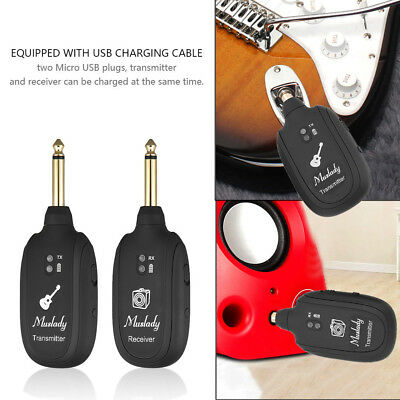 UHF Guitar Wireless System Transmitter Receiver Built-in Rechargeable S7B9