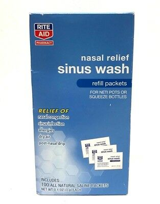 Rite Aid Nasal Relief Sinus Wash, Refill Packets, 100 All Natural Saline Packets