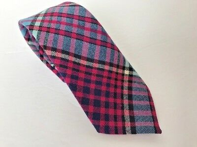 Mens Vintage Tie Wool Scotland Royal Canadian Air Force Tartan Pink Blue Plaid