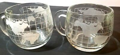 Two Vintage 1970's Nestle Nescafe Etched World Map Round Glass Mugs/ Cups
