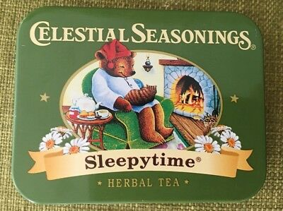 """EMPTY Celestial Seasonings Collectable Tin """"Sleepytime"""" Bear with Cat fireplace"""