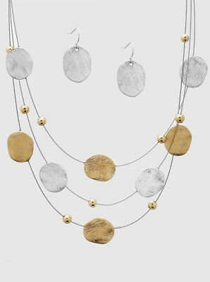 Tri-Layered Oval Gold & Silver Brushed Metal Disk Wire Necklace Set