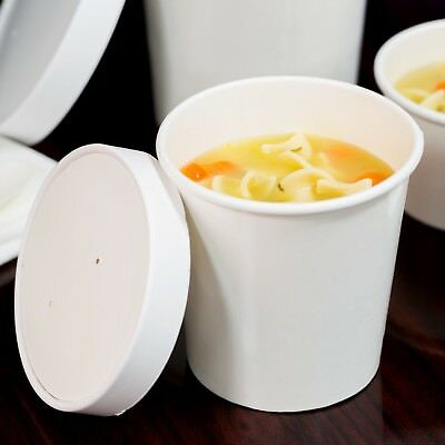 500 PACK 16 Oz Double Wall White Paper Soup Hot Food Cup Bowl Vented Lid Case