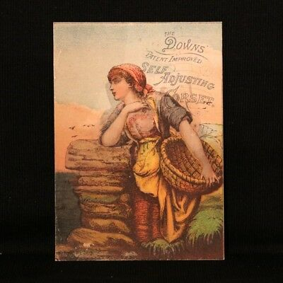 Down's Corset Lady with Basket Trade Card - Normal Park IL