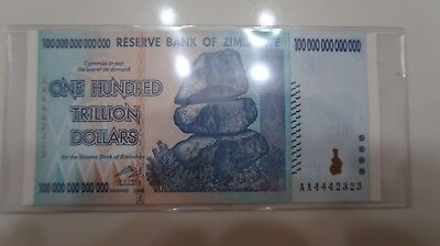 SUPER RARE Number AA4442323 ZIMBABWE 100 trillion dollar AA series banknote UNC