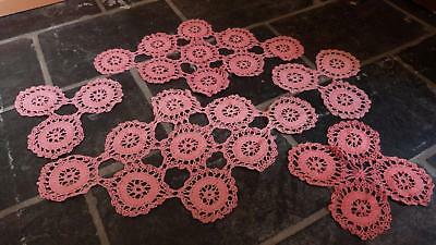 Set of 5 Vintage Crochet Doilies Pink - From Grandma!