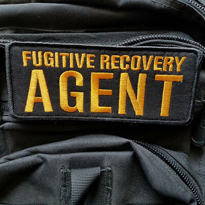 Agent Fugitive Recovery Militray Tactical Hook Patch Embroidered Dark Gold Badge