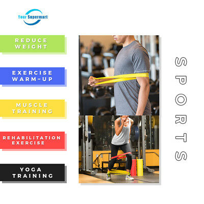 Set Of 5 Resistance Bands Loop Exercise Workout CrossFit Fitness Stretching Yoga