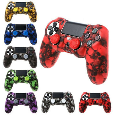 Camo Silicone Rubber Soft Skin Gel Cover Case + Joystick Caps For PS4 Controller