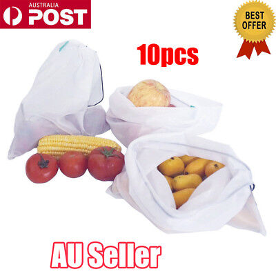 10pcs Eco Friendly Reusable Mesh Produce Bags Double-Stitched Strength NW