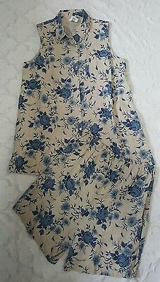 Mimi Maternity Medium Two Piece Outfit Tank Top Shorts Beige Blue Floral Linen