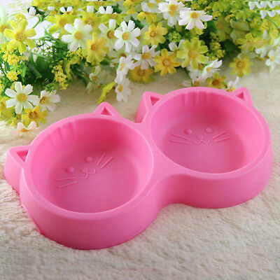 Pets Kitty Puppy Cat Food Water Dish Feeder Feeding Double Twin Plastic Bowl BMG