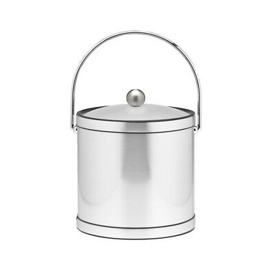 3 Qt. Brushed Chrome Mylar Ice Bucket with Bale Handle, Lucite Cover and Round K