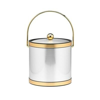 3 Qt. Brushed Chrome and Brass Mylar Ice Bucket with Bale Handle, Bands and Meta