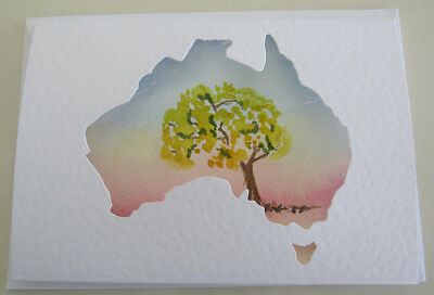 WATERCOLOUR australia WATTLE card FLORA birthday FAREWELL travel PLAIN DIY words