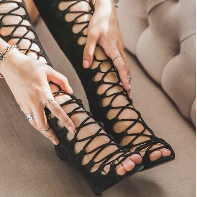 f864f9e5ae76 Women Gladiator Strappy High Shoe Stiletto Heels Knee High Boots Summer  Sandals
