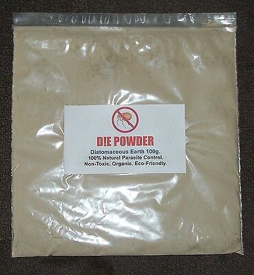 D!E POWDER DIATOMACEOUS EARTH 100g Bag ORGANIC WORMER/RED MITE/FLEA/LICE/LOUSE