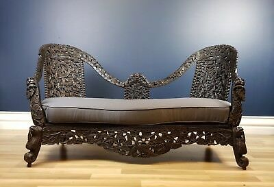 Superb Original Carved Anglo-Indian Antique Ebonized Rosewood Sofa. Circa 1840
