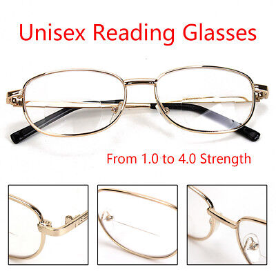 Unisex Reading Glasses Strength 1.0 to 4.0 Gold Frame Clear Lens Eyeglasses