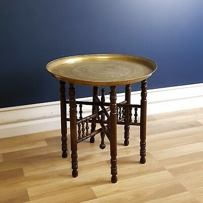 Vintage Indian Brass and Timber Folding Coffee Table