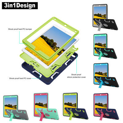 "For iPad 6th Gen 9.7"" 2018 Case Heavy Duty Shockproof Rubber Rugged Hard Cover"