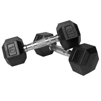 XMark Premium Rubber Coated Hex Dumbbells Pairs with Chrome Contoured Handles
