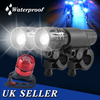 Mountain LED Cree 2x Front Bicycle Lights Bike Head Aluminum + Q5